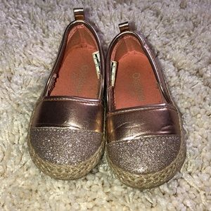 Toddler girl gold tone slip ons